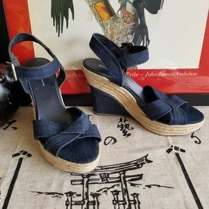 BCBGeneration Denim Espadrille Wedges Size 9.5M